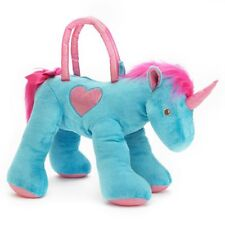 "Olly & Friends Plush Blue & Pink Unicorn Child's 18"" Overnight Bag Purse NEW"