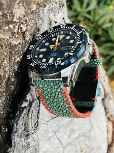 Customize Green Genuine Stingray Alligator Skin Leather Watch Band Strap