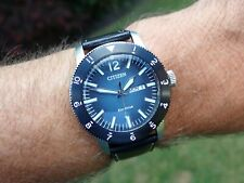 Citizen Brycen Eco Drive Blue Dial Leather Band Men's Watch AW0078-08L Boxed