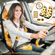 8PCS Sunflower Car Seat Covers+Steering Wheel Cover+Seat Belt & Armrest Cushion