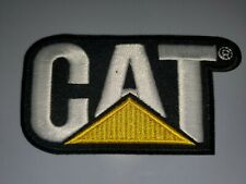 CAT CATERPILLAR WHITE BLACK YELLOW EMBROIDERED IRON ON PATCHES 3.5
