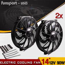 2x14inch Slim Fan Push Pull Electric Radiator Cooling 80W Mount Kit Universal