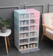 6/12 PCS Stackable Foldable Shoe Box Storage Plastic Transparent Organizer