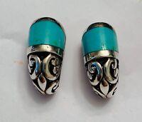 Fancy Filigree Simulated Turquoise Huggie Hoop Earrings Sterling Silver