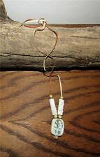 VINTAGE ARTISAN HAND-MADE POLYMER CLAY BEAD PENDENT LEATHER CORD NECKLACE