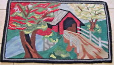 ANTIQUE HOOKED RUG AMERICANA FOLK ART 1940S FINE WEAVE BRIDGE