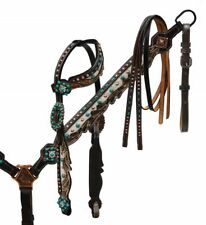 Showman HAIR ON COWHIDE Dark Leather TEAL Studded Bridle Breast Collar Reins SET