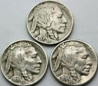1936 P D S 5c Indian Head Buffalo Nickel 3 Coin Lot Three Mints Set Circulated