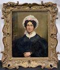 Antique 19th C. American / European Portrait of a Lady Woman Black Dress SIGNED