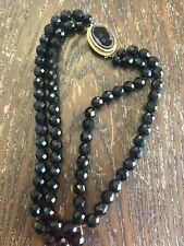 Vintage Faceted Black Glass Cameo 2 Double Strand Bead Chain Drape Necklace