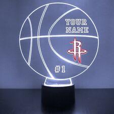 Houston Rockets LED Night Light Personalized FREE NBA Basketball Light Up LED