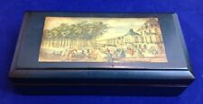 Vintage Wood Trinket/Jewelry Box with Scenic European Picture