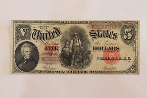 1907 5.00 Five Dollar United States Note Woodchopper