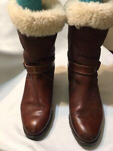 Timberland Women's leather Sheepskin Boot Round Toe Mid-calf