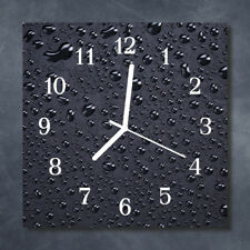 Glass Wall Clock Kitchen Clocks 30x30 cm silent Drops Black