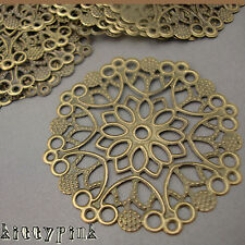 10 Large Round Antique Gold Bronze Filigree Flower Wraps Connectors 50mm