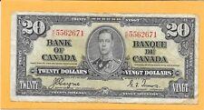1937 BANK OF CANADA 20 DOLLAR BILL K/E5562671