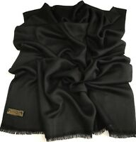 Black Fringe Solid Color Design Shawl Scarf Wrap Stole Pashmina CJ Apparel *NEW*