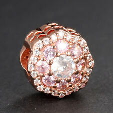 Authentic Pandora Rose Gold Charm Pink Sparkle Flower Charm 787851NPM