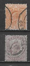 CEYLON , SRI LANKA , EDWARD VII , 1904/05 ,  SET OF 2 ,PERF , USED