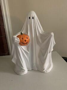 Vintage 1972 Byron Mold Ceramic Ghost With Pumpkin Halloween Decoration