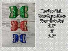 "Set of 3 Bowtique Double Tail Bow Templates - 3.5"", 3"" + 2.5"""