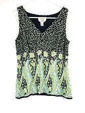 Talbots Pure Silk Green Black Floral Print Sleeveless Tank Blouse Shirt 6