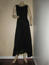Vintage 80s Bobbie Bee Black Boho Velveteen Overlay Sleeveless Maxi Dress S/M
