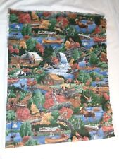 "(2780) vintage fabric remnant 18x48"" Camping theme CUTE!!! Joan Messmore"