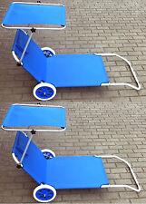 2er Set Strandliege Alu Gartenliege Sonnenliege Liegestuhl Relaxliege Blau 2Stk.