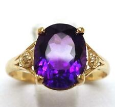 SYJEWELLERY FINE 9CT SOLID YELLOW GOLD OVAL AMETHYST & DIAMOND RING SIZE N R930