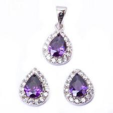 Pear Shape Amethyst & Cz .925 Sterling Silver Earring & Pendant Jewelry set