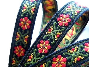 BLACK AND GREEN PATTERNED woven ribbon 17MM R055