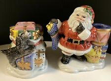 Fitz & Floyd Vintage Christmas Candle Holders Santa Stocking Puppy Dog Gifts