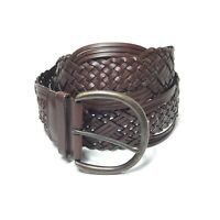 Women's Brown Leather Woven Braided Wide Belt Size XL