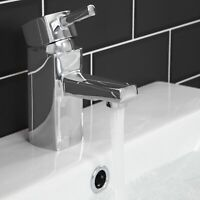 Bathroom Square Monobloc Basin Sink Mixer Tap Brass Single Lever Chrome Modern