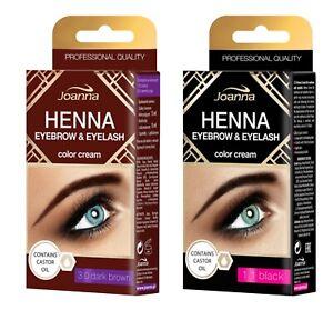 Joanna Henna Eyebrow Tint Black Dark Brown Cream Eyelash Dye Tinting Lash 15ml