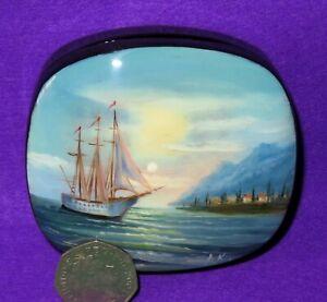 Lacquer Box Russian Boat at sea small hand painted SHIP bright skies signed ART