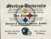 STEELERS~PITTSBURGH STEELERS~  MAN CAVE ~ CERTIFICATE ~ DIPLOMA      GIFT