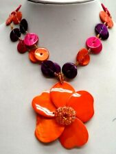 "Flower 18"" Necklace! 4017D Stunning Vintage Estate Chunky Orange"