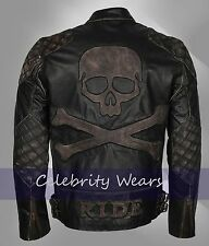 Motorbiker Mens Exclusive Skull Rider Distressed Leather Jacket- Sale!