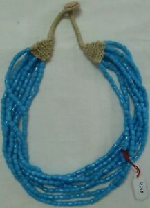 Blue colored necklace turquoise beads multi layered women jewelry button hook