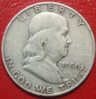 1950-D Franklin Half Dollar , Circulated , 90% Silver US Coin