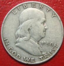 1950 D Franklin Half Dollar , Circulated , 90% Silver US Coin