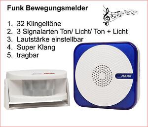Funk Bewegungsmelder , Durchgangsmelder , Präsenzmelder tragbar m. 32 klingeltön
