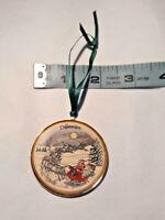 Vintage Round Delaware Christmas Ornament ~ Snow Sleigh Santa Reindeer Holiday