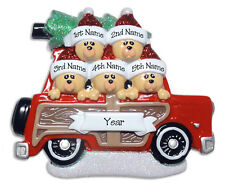 FAMILY OF 5 BEARS IN CAR Personalized Ornament Hand Painted RESIN by Deb & Co.