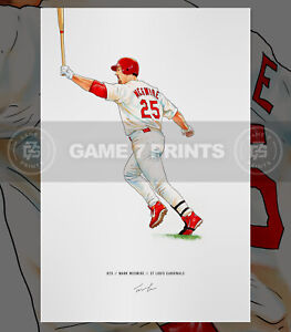 Mark McGwire St Louis Cardinals Baseball Illustrated Print Poster Art 1998 Chase