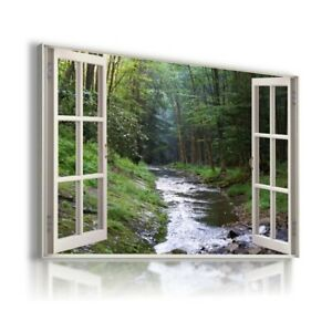 RIVER STREAM IN FOREST ENGLAND  Window View Canvas Wall Art Print WN93