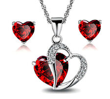 Necklace Earrings Red Heart shaped Crystal Jewelry Set Brand NEW! Great Gift